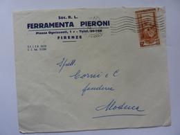 "Busta Viaggiata Pubblicitaria ""FERRAMENTA PIERONI Soc. R.L. Firenze"" 1953 - 1944-... Repubblica"