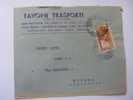 """Busta Viaggiata Pubblicitaria """"TAVONI TRASPORTI Casa Di Spedizioni BOLOGNA"""" 1954 - 1946-60: Storia Postale"""