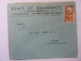 """Busta Viaggiata Pubblicitaria """"REMO DE GAUDENZI FERRAMENTA"""" 1953 - 1946-60: Storia Postale"""