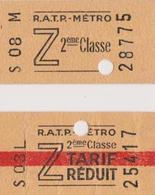 Ticket Metro Tarif Z 2cl Et 2cl Tarif Reduit - Subway