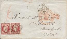 Napoléon N°17A En Paire Se-tenant Sur LSC + Losange Lettre J ? De Paris à New York 1859 - Marcophilie (Lettres)