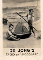 Early Advertisement Card, Beach, Swimdress, De Jong's Chocolaad, Real Photo - Reclame