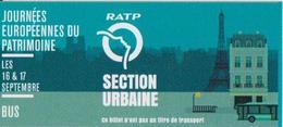 Ticket Journée Du Patrimoine 2017 RATP - Subway