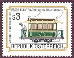 Timbre Neuf** D'autriche, N°1586 Yt, Chemin De Fer Moedling-hinterbruehl, Traction électrique, Automotrice N°5 De 1883 - 1945-.... 2ème République