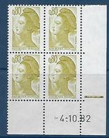 """FR Coins Datés YT 2241 """" Liberté 80c. Brun-olive """" Neuf** Du 4.10.82 - 1980-1989"""