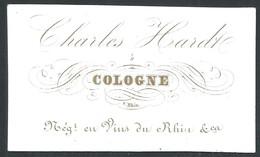 Carte De Visite Porcelaine  Charles Hardt Cologne Négociant En Vin   8,5 X 5 Cm - Cartes De Visite