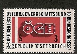 Timbre Neuf** D'autriche, N°1584 Yt, 10 è  Congrès De La Confédération Syndicale Autrichienne, OGB - 1945-.... 2ème République