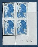 """FR Coins Datés YT 2221 """" Liberté 2F60 Bleu """" Neuf** Du 14.5.82 - 1980-1989"""