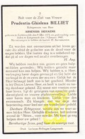 DP Prudentia G. Billiet ° Lichtervelde 1875 † Langemark 1940 X Arseen DeHaene - Images Religieuses
