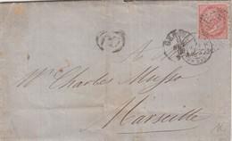 COVER. LETTERA. ITALIA. 1866. PD. 40c. GENOVA TO MARSEILLE FRANCE - Unclassified