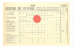 Oeuvre De St-Paul, Tarifs Des Ristourne Sur Certains Quotidiens, Journaux (bilingue FR/NL) - 1950 - Religion (xh) - Advertising