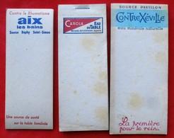 """Lot De 3 Carnets Publicitaires Eau """"CAROLA""""  """"CONTREXEVILLE""""  """"AIX LES BAINS"""" - Advertising"""