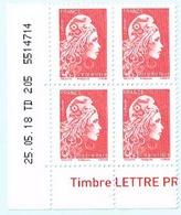 France 2018 Coin Daté X4TP Marianne L'engagée Tarif PRIO - 25-05-18 TD 205 5514714 - Coins Datés