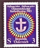 Timbre Neuf** D'autriche, N°1579 Yt, Journée Des Catholiques Autrichiens, Couronne Spectrale Et Croix Ancrée - 1945-.... 2ème République
