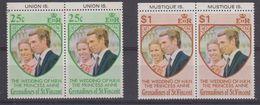 Grenadines Of St. Vincent 1973 Wedding Princess Anne 2v (pair, Margin) ** Mnh (41898) - St.-Vincent En De Grenadines