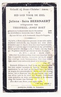 DP Juliana Saïra Beernaert ° Lichtervelde 1869 † Aartrijke Zedelgem 1912 X Theophiel J. Hoet - Images Religieuses