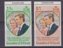 Grenadines Of St. Vincent 1973 Wedding Princess Anne 2v (margin) ** Mnh (41899) - St.-Vincent En De Grenadines