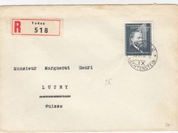 COVER. LETTRE. 1839. LIECHTENSTEIN. REGISTERED VADUZ TO LUTRY SUISSE - Unclassified