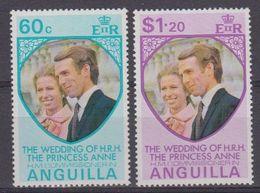 Anguilla 1973 Wedding Princess Anne 2v ** Mnh (41900) - Anguilla (1968-...)