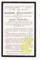 DP Barbara Bouckaert / DeJonghe ° Gits 1835 † Lichtervelde 1909 X Aug. VandeVelde - Images Religieuses