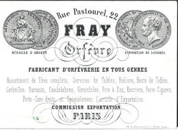 Carte Porcelaine Fray Orfèvre Rue Pastourel 22 Paris   12 X 9 Cm - Straßenhandel Und Kleingewerbe