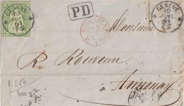COVER. LETTRE.  FRONT. SWIZERLAND. 1861. GENEVE TO FRANCE. 40 K. PD. RED SUISSE AMB.MARSEILLE - Unclassified