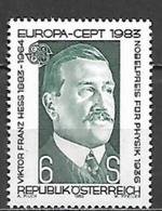 Timbre Neuf** D'autriche, N°1572 Yt,  Europa 1983, Victor Franz Hess, Prix Nobel De Physique En 1936 - 1945-.... 2ème République