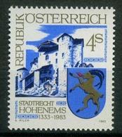Timbre Neuf** D'autriche, N°1570 Yt, 650 Ans Du Statut De Ville à Hohenems, Armories, Château-fort - 1945-.... 2ème République