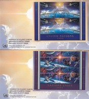 COVER. LETTRE. SPACE. 2 FDC UN 1992. BLOC MISSION TO PLANET EARTH - Unclassified