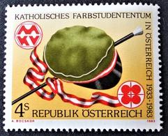 Timbre Neuf** D'autriche, N°1568 Yt, Association Estudiantine Catholique, Corporation Aux Couleurs, Casquette, Baguette, - 1945-.... 2ème République