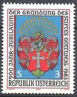 Timbre Neuf** D'autriche, N°1567 Yt, 900 Ans De L'abbaye De Göttweig, Miniature De 1626, Armoiries - 1945-.... 2ème République