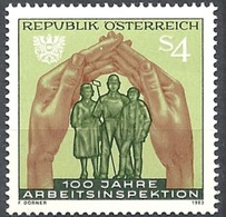 Timbre Neuf** D'autriche, N°1564 Yt, 100 Ans Du Service Public De L'inspection Du Travail, Mains - 1945-.... 2ème République