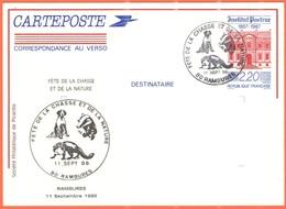 FRANCIA - France - 1988 - 2,20 Institut Pasteur + Special Cancel Rambures Fête De La Chasse Et De La Nature - Carte Post - Postal Stamped Stationery