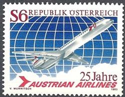 Timbre Neuf** D'autriche, N°1563 Yt, 25 Ans De La Compagnie Aérienne Austrian Airlines, Avion DC 9 Super 80 - 1945-.... 2ème République