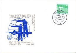 """(DDR-B3) DDR Sonderkarte """"WELTCUP SUHL Friedberg Mai 1989"""", EF Mi 2484, TSt.27.5.89 SUHL 6 - Briefe U. Dokumente"""