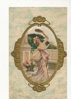 Embossed Painted Silk Card . Beautiful Woman. Carte Peinte En Soie - Ansichtskarten