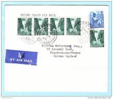 UGANDA OUGANDA Brief Cover Lettre 73 (4er) 77 Wasserfall - Baumwolle (124246) - Uganda (1962-...)