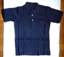 CHEMISE LACOSTE DEMI-OUVRE EN JERSEY BLEU Années 40-50 (2) - Vintage Clothes & Linen