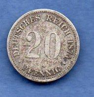 Allemagne  - 20 Pfennig 1874 G  -  état  TB - [ 2] 1871-1918 : German Empire