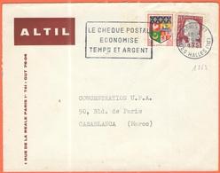 FRANCIA - France - 1961 - 0,05 Oran + 0,25 Marianne De Decaris + Flamme Le Chèque Postal économise Temps Et Argent - ALT - Storia Postale