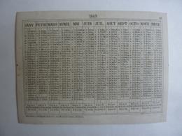 ALMANACH  Calendrier  1869   Edit Mayou Et   Honoré  édit Paris - Calendriers