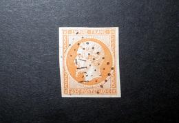 FRANCE 1853 N°16 OBL. LOSANGE PC 1917 (NAPOLÉON III. SECOND EMPIRE. 40C ORANGE. LÉGENDE EMPIRE FRANC. NON DENTELÉ) - 1853-1860 Napoléon III