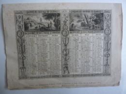 ALMANACH  Calendrier  1831  2 SEMESTRIELS  Repliés  Allégories  De Paysages Lithographie Et Arabesque Liturgique - Calendars