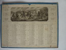 ALMANACH  Calendrier  1851  Semestriel Recto-Verseau  Lithographies  ELLEGORIE  Bataille De Wagram Et  De Rivoli - Calendarios
