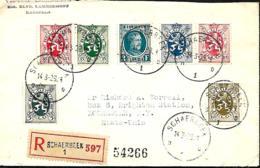 Belgique. TP 208, 279, 280 (x 2), 283 + 285  L. Rec. Schaerbeek 1 > Rochester (USA)  1929 - 1922-1927 Houyoux