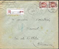 Belgique. TP 201 (x 2)  L. Rec. St Bernard > Namur   1923 - 1922-1927 Houyoux