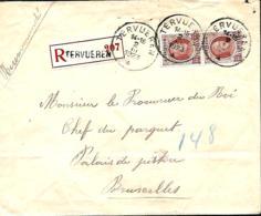 Belgique. TP 201 (x 2)  L. Rec. Tervuren >Bruxelles 2  1923    (plis) - 1922-1927 Houyoux