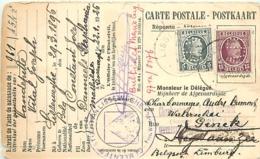 Belgique. TP  193 + 195 CP Lissewege > Genk  1926   Perfin AD  Charbonnage André Dumont - 1922-1927 Houyoux