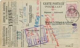 Belgique. TP 195  CP Luttre > Antwerpen  13/1/1926   Perfin B.T./M.  Bell Telephone Manufacturing C° - 1922-1927 Houyoux