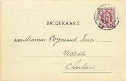Belgique. TP 195  CP Bruxelles Midi > Charleroi 1925   Perfin J.H.   J. Hartogensis Rotterdam - 1922-1927 Houyoux